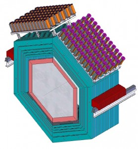 The assembled MINERvA detector will collect about 16 million neutrino events in its inner 3 ton-volume area throughout its lifetime. (Credit: Fermilab)